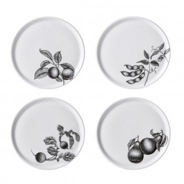 """Набор из четырех пирожковых тарелок с разным рисунком """" Olive Market"""", d 15 см"""