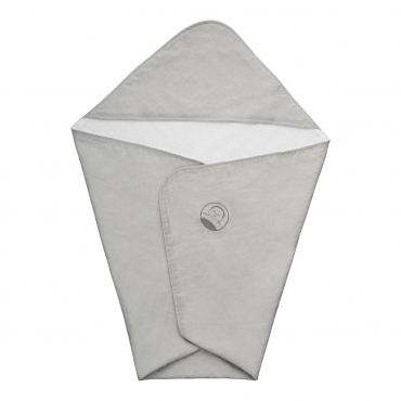 """Полотенце с уголком и ручной вышивкой """"Lino Nuvola"""", серое, 75х75 см"""