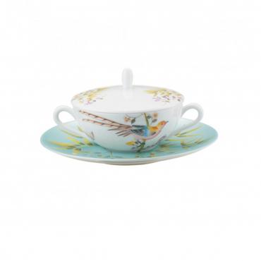 """Блюдо под тарелку для супа голубое """"Рай"""", (тарелка отдельно)"""