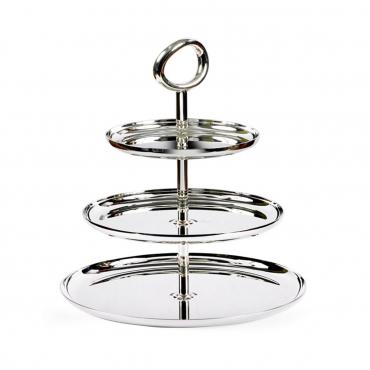 """Подставка для десертов трехъярусная """"Vertigo"""", посеребрение, l 27 см"""
