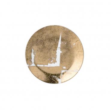 """Пирожковая тарелка """"Feuille """", инкрустированная золотом, d 14 см"""