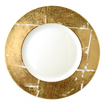 """Подстановочная тарелка """"Feuille """", инкрустированная золотом, d 32 см"""