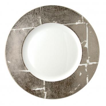 """Подстановочная тарелка """"Feuille """", инкрустированная платиной, d 32 см"""