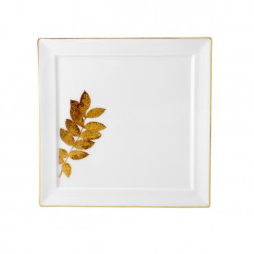 """Блюдо для пирожных """"Золотые растения"""", 21х21 см"""