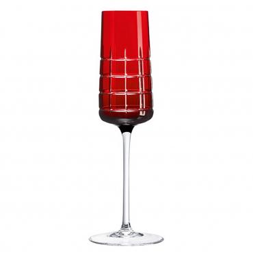 """Набор из двух красных бокалов для шампанского """"Графика"""", h 22 см"""