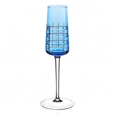 """Набор из двух голубых бокалов для шампанского """"Графика"""", h 22 см"""
