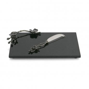 "Набор ""Black Orchid"": доска для сыра гранитная 32х21 см, нож 21,5 см"