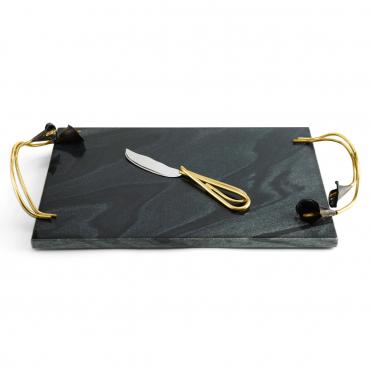 """Набор: поднос с ручками и нож для сыра """"Calla Lily """", 46x25 см"""