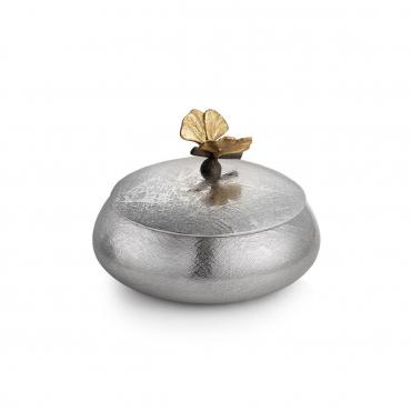 """Шкатулка с крышкой """"Butterfly Ginkgo"""", с позолотой, d 12 см"""