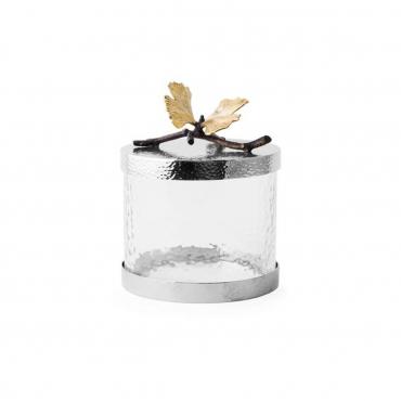 """Емкость для хранения """"Butterfly Ginkgo"""", черная с позолотой, h 15 см"""