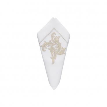 """Салфетка льняная с кружевным декором цвета шампань """"Бельведер"""", 45x45 см"""