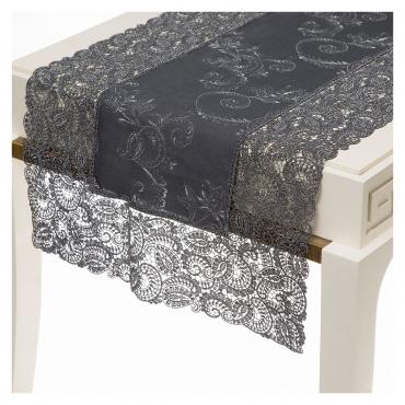 """Шлейф льняной с вышивкой и кружевным кантом """"Venice"""", серый, 55x170"""