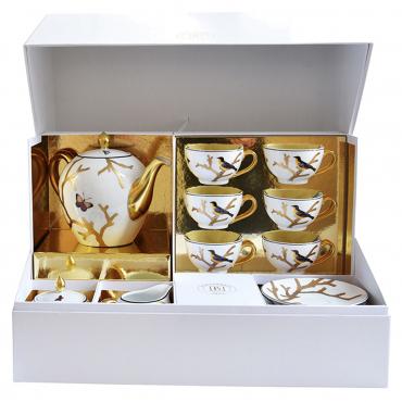 "Чайный сервиз на 6 персон ""Aux Oiseaux"": чайник, сахарница, молочник, 6 чашек с блюдцами"
