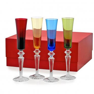 """Набор из четырех разноцветных бокалов для шампанского """"Тысяча ночей"""", h 29 см"""