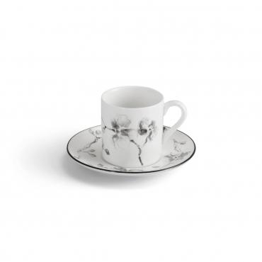 "Набор из четырех чайных чашек с блюдцами ""Black Orchid"", v 0,25 л"