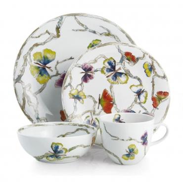 """Фарфоровый набор для сервировки на одну персону """"Butterfly Ginkgo"""": обеденная и десертная тарелки, чаша для каш, чашка"""
