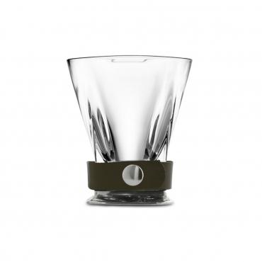"Бокал для виски из олова, стекла и кожи ""Giorgio"", h 10 см"