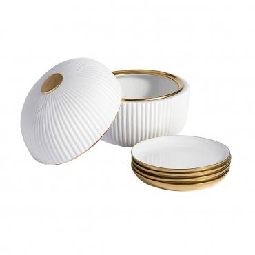 """Набор инкрустированный золотом """"Ион"""": фарфоровая шкатулка с четырьмя блюдцами"""
