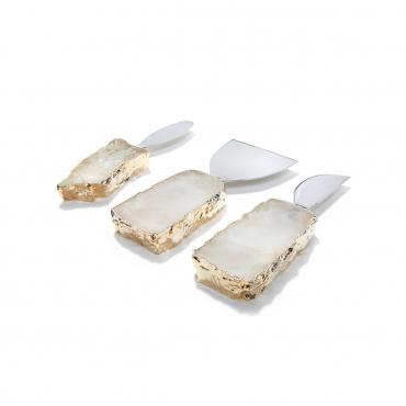 """Набор из трёх ножей для мягкого сыра с позолотой """"Kiva"""", l 13 см"""