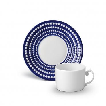 """Блюдце под чайную чашку синее """"Perlée"""", d 17 см (чашка отдельно)"""