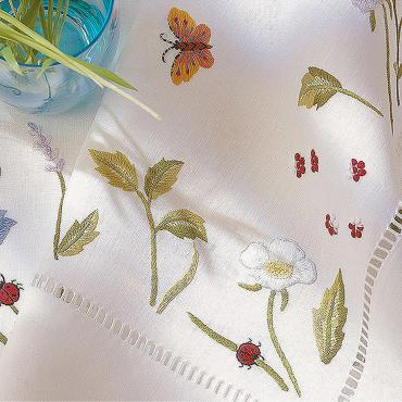 """Шлейф льняной с ручной вышивкой """"Flowergarde"""", 55х150 см"""