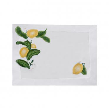 """Плейсмат льняной с ручной вышивкой """"Lemon"""", 51х38 см"""